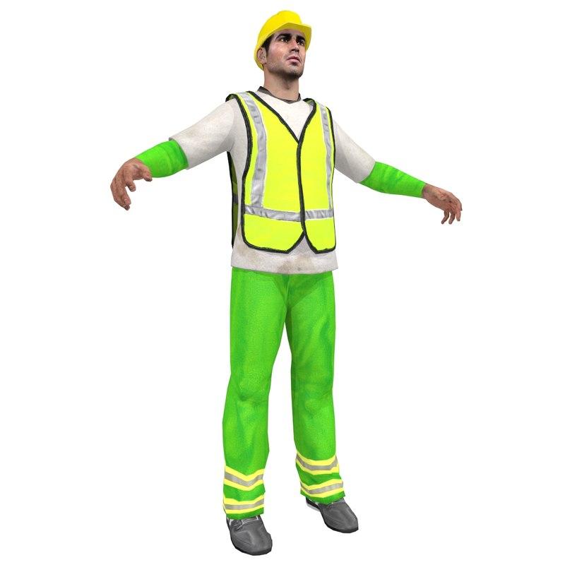 3d model road worker man