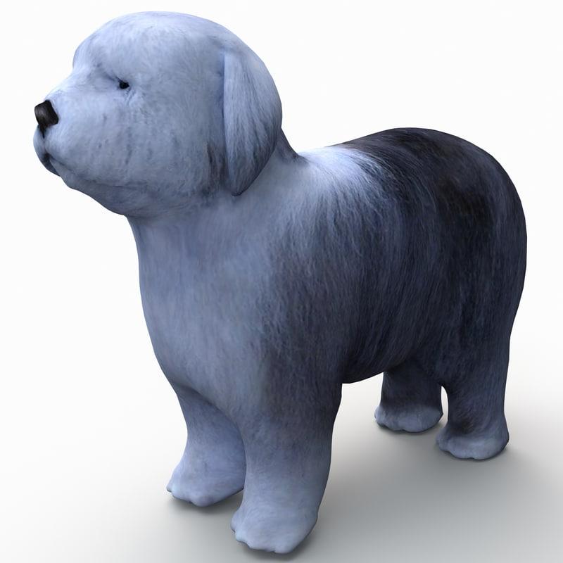 bobtail dog 3d model