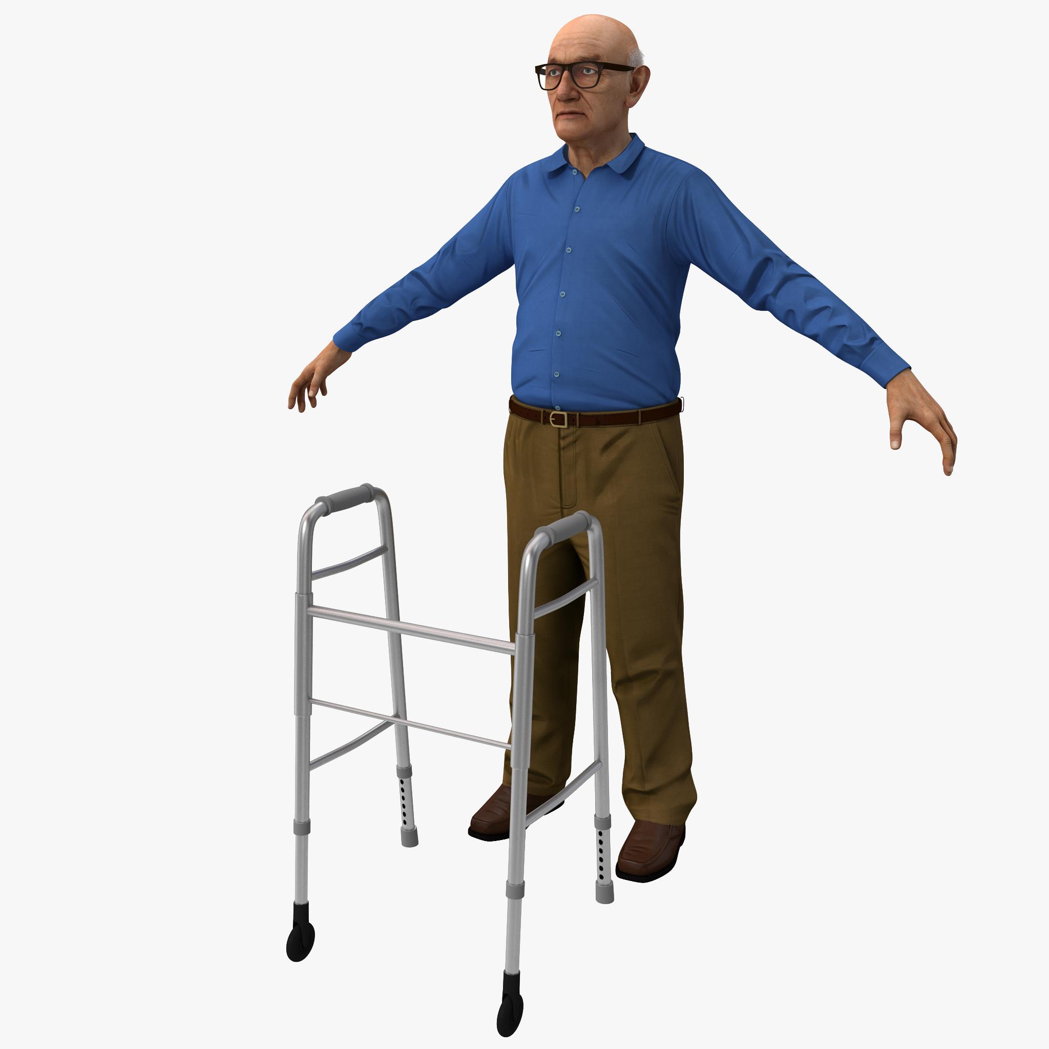 elderly man rigged version 3d model