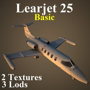 learjet 25 basic jet 3d model