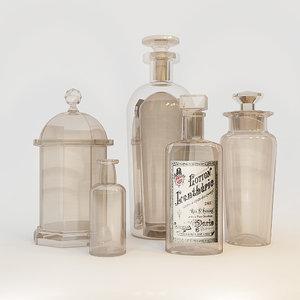3d bottle vases model
