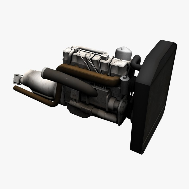 3d low-poly truck engine model