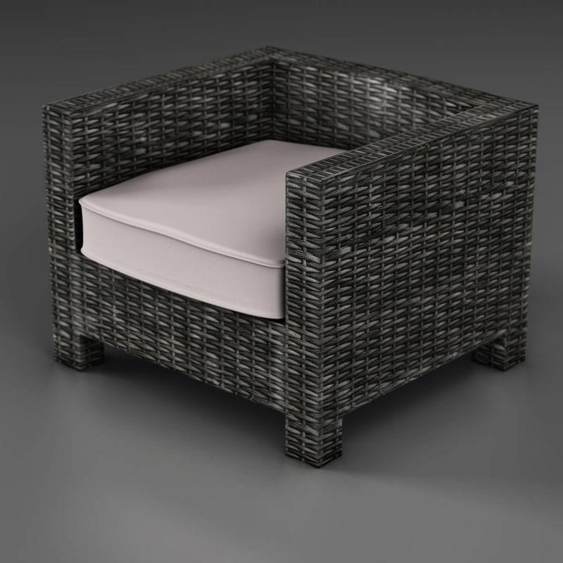 3d wicker couch model