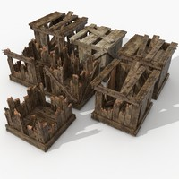 Damaged Warehouse Palette Wooden crates collection