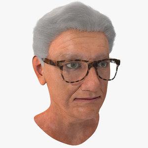 elderly woman head glasses 3d model