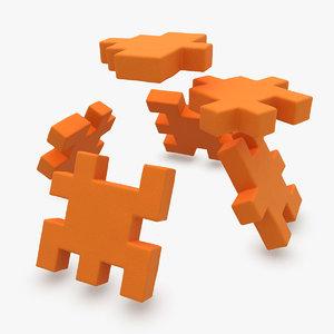 happy cube orange animation obj