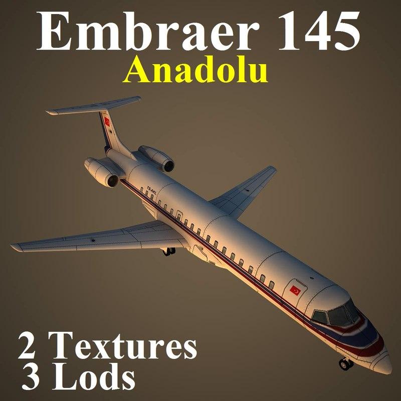 embraer anadolu low-poly 3d model