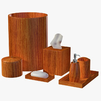 Modern Wooden Brown Bathroom Accessory Set