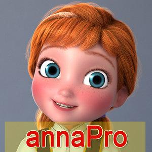 3d max anna girl cartoon