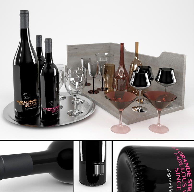 3d bottles wine tinted glasses
