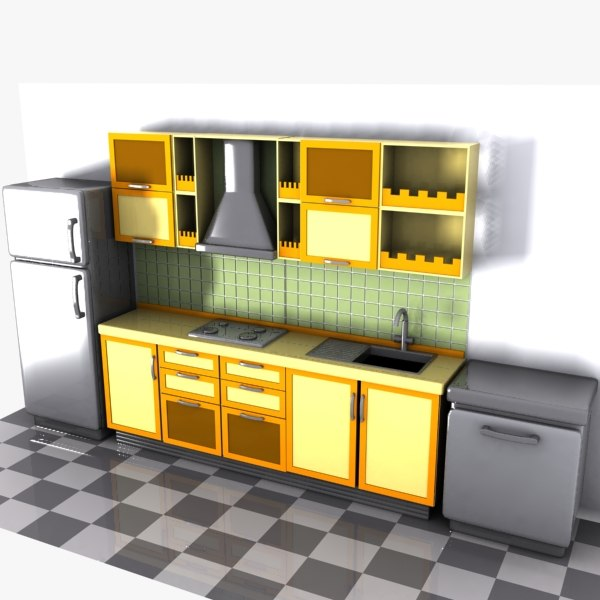 Cartoon kitchen interior 3d model for Model kitchen images