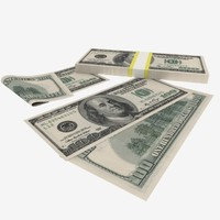 100 dollars banknote obj