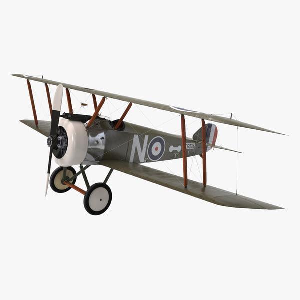obj british wwi biplane fighter