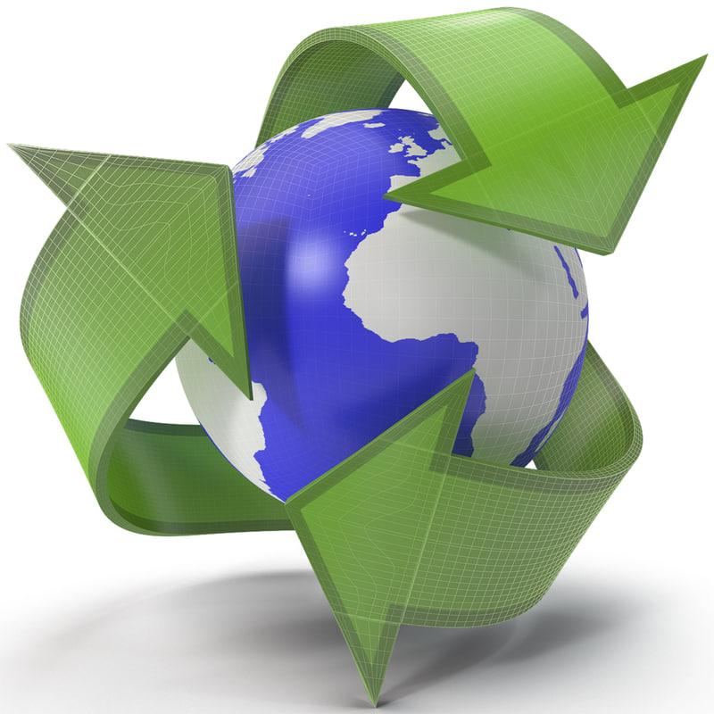 3d model recycling symbol 2
