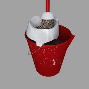 3d plastic pail used mop model