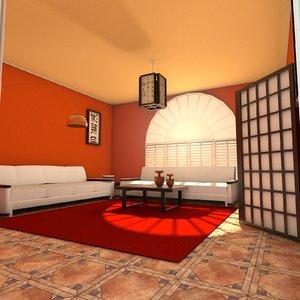 3dsmax living zen room
