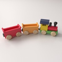 3d model wooden toy train