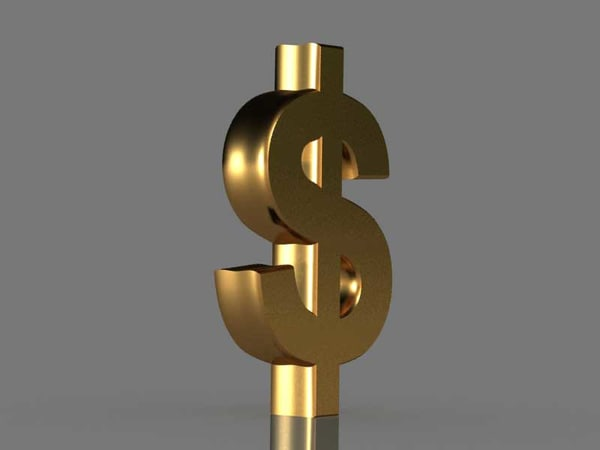 free dollar us$ currency 3d model