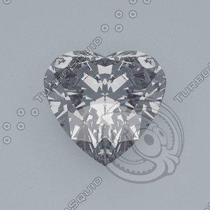 heart cut gemstone diamond obj