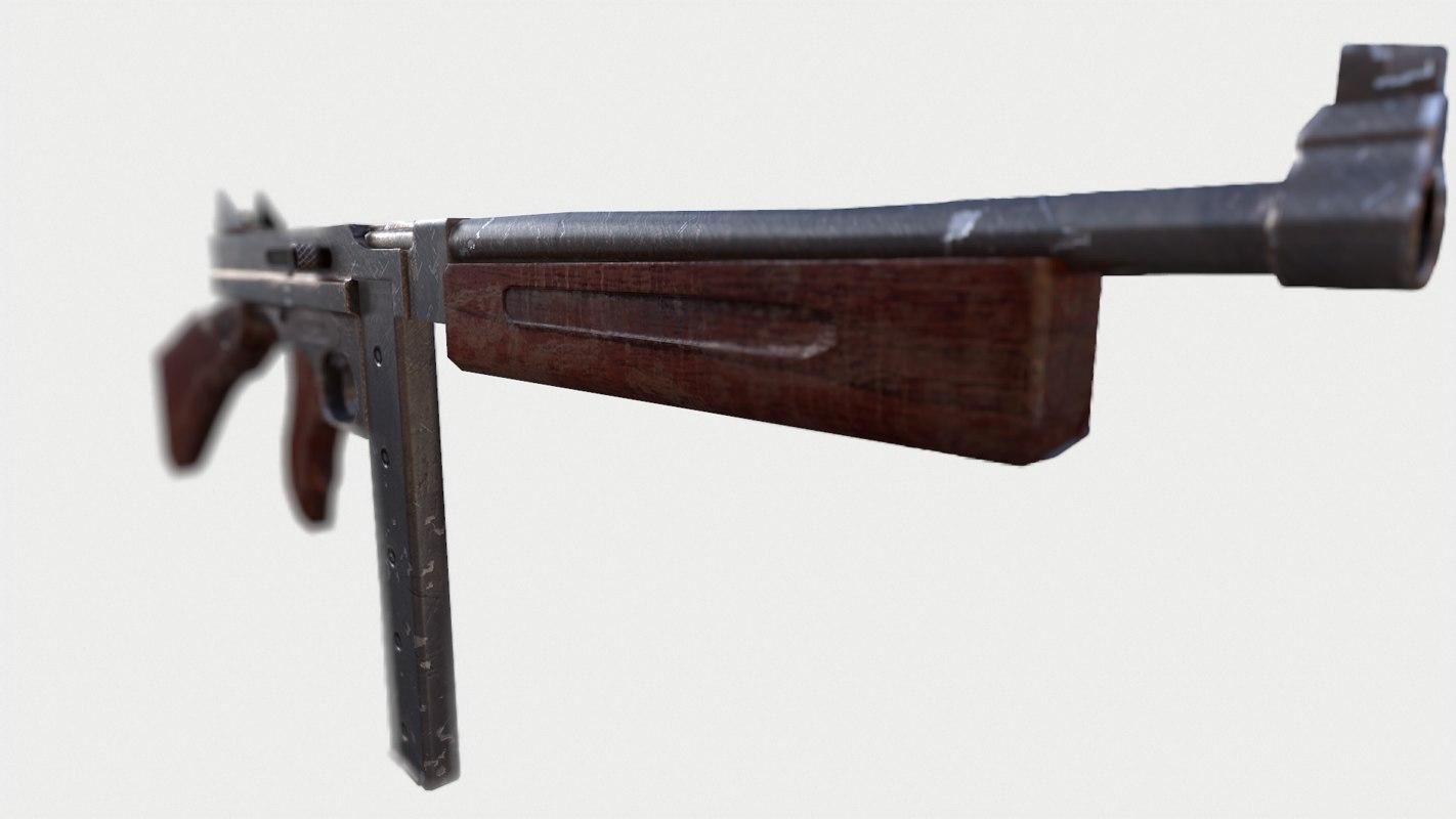 3d model m1a1 thompson submachine gun
