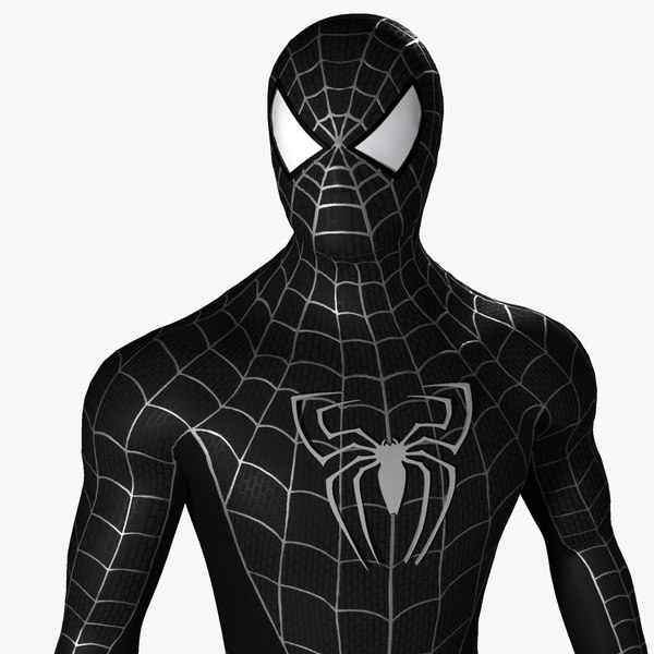 3d black spider man model