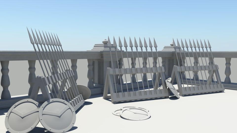 platform spartan shields 3d model