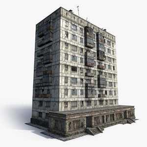 3d model abandoned 9-storey house