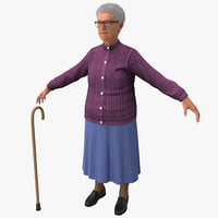 3d model elderly woman