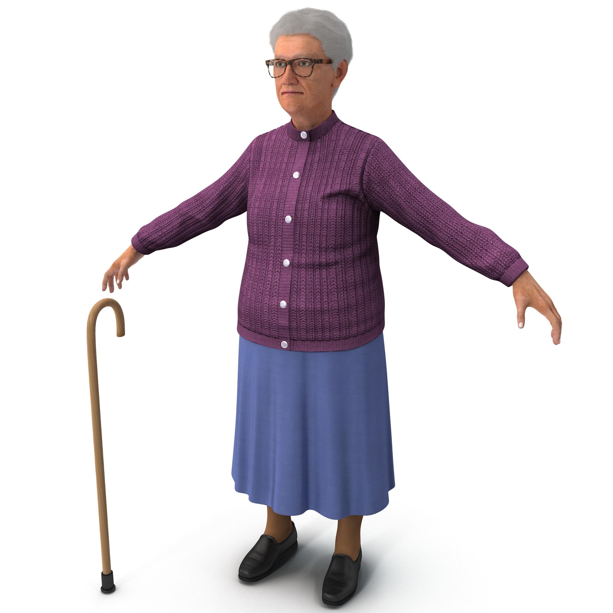 3d model elderly woman