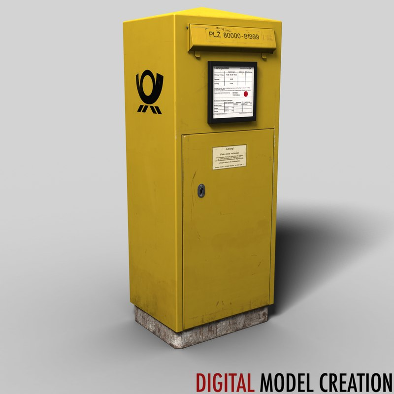 german postbox 3d fbx