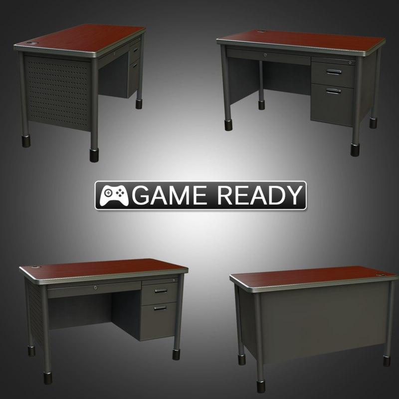 real-time teacher desk 3d model