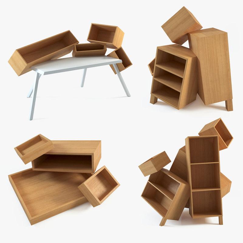 3d model bram overdose desk cabinet