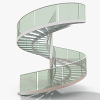 Luxurious Modern Glass Spiral Stairs