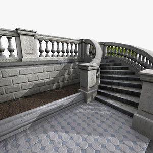 classical stone stairs 3d max