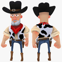 3d cartoon cowboy rigged model