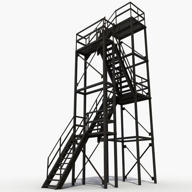 escape exit stairs 3d model