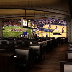 3d model sports bar scene