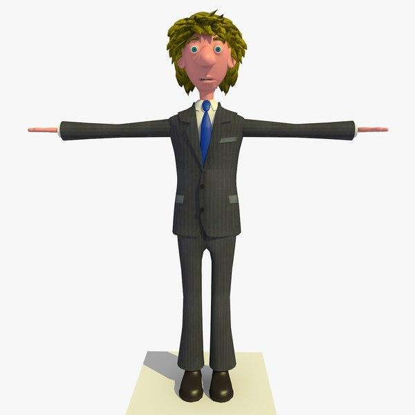 tim business man cartoon character 3d 3ds