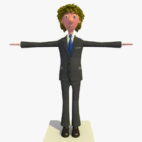 tim business man cartoon character 3d 3ds