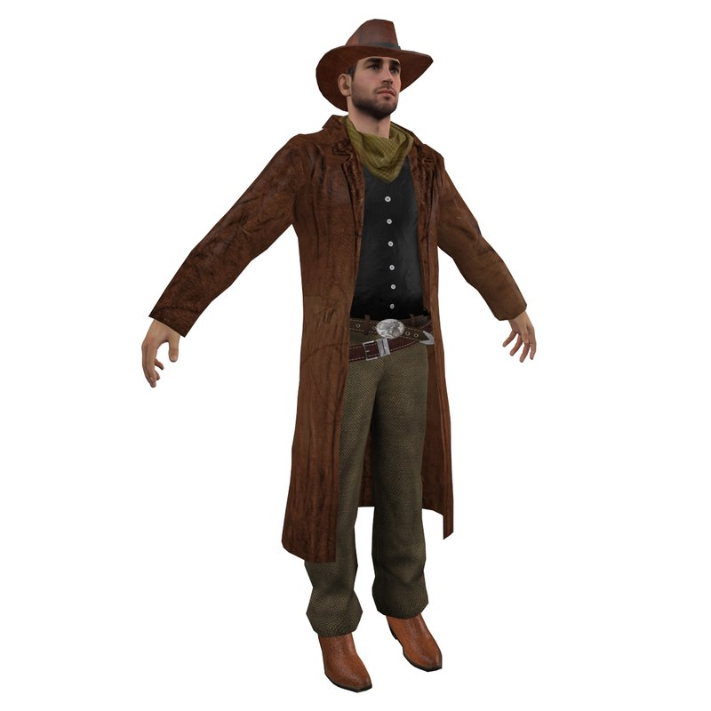 wild west cowboy 3d obj