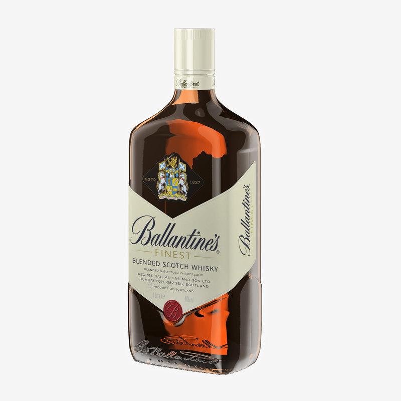 ballantines scotch whiskey 3d max