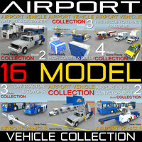 16 airport vehicles collections 3d model