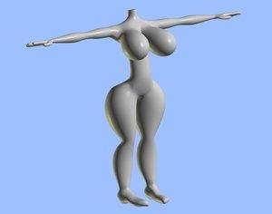 3d female body rigged model