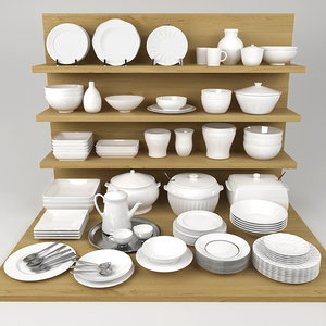 3d model kitchen bowls plates set