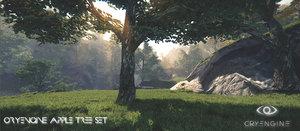 3ds realistic apple tree set