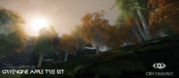 3ds realistic ash tree set