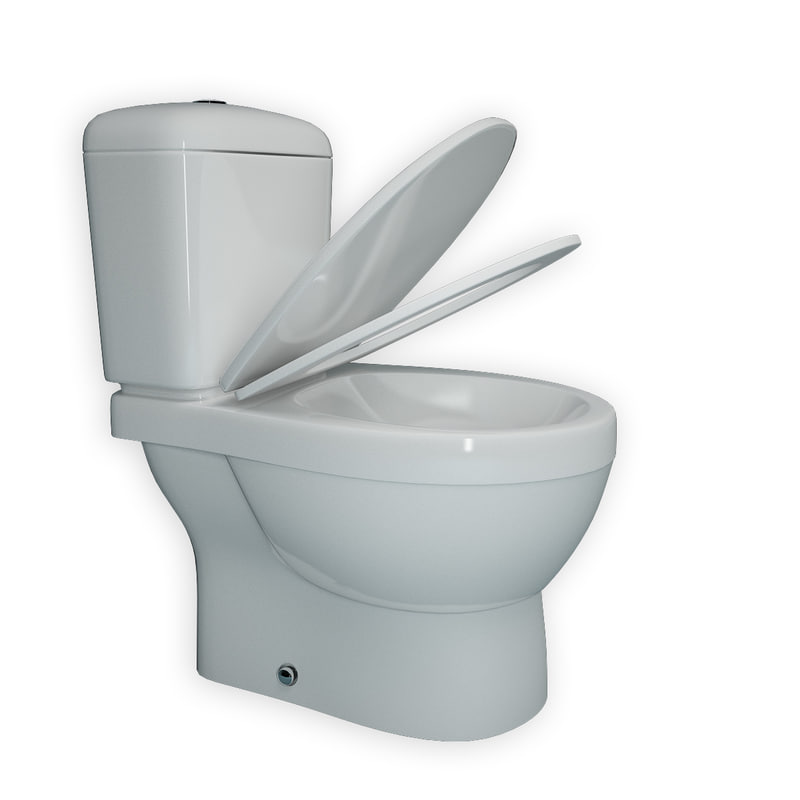 3d toilet modeled realistic model