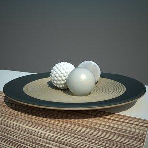 3d decorative plate balls model