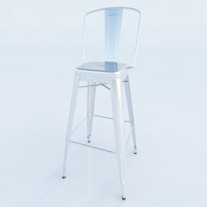 perforated h stools backrest 3d model