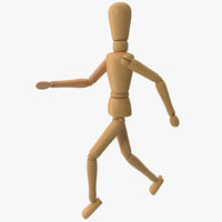 3d model wooden mannequin running